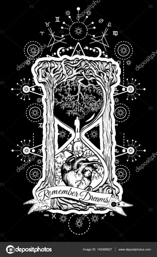 Arbre Et Le Coeur Dans Le Sablier De La Vie Et La Mort Image