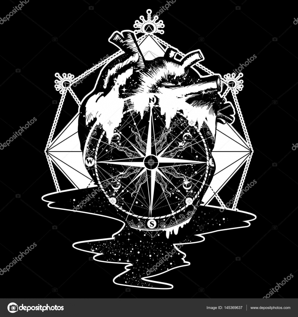 0c41d7e3ce78f Compass in the heart steampunk tattoo, geometric style– stock illustration