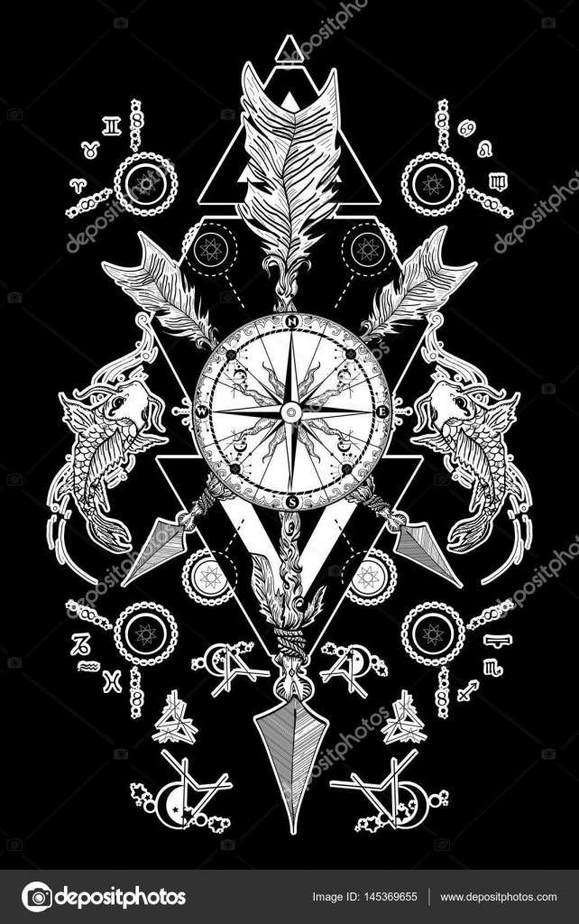 Rose De Compas Et Traverse Les Fleches Tatouage Boho Style