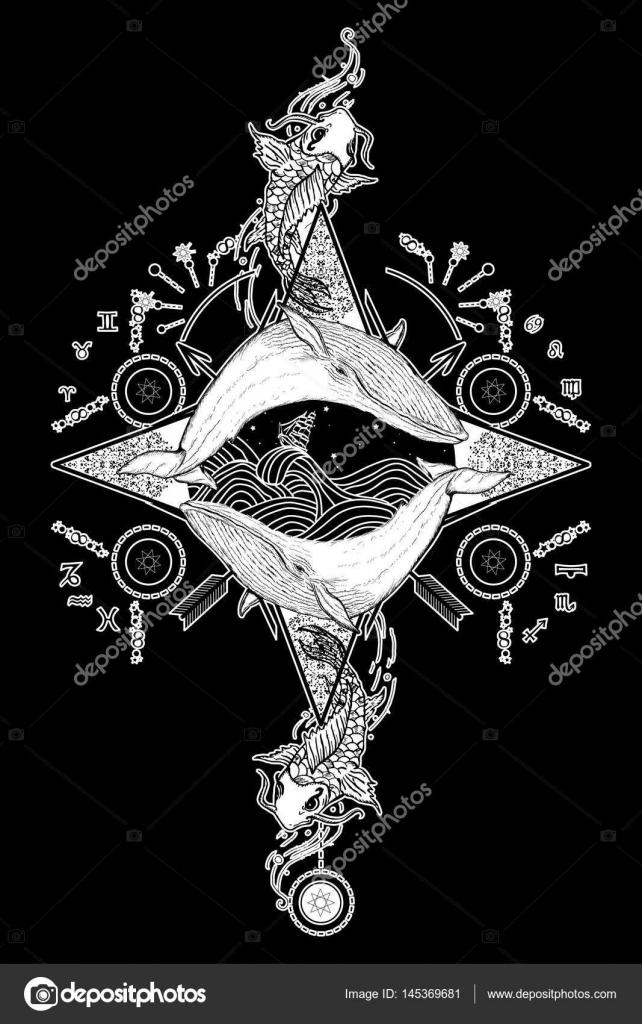 Dwa Wieloryby W Morze Róża Wiatrów Kompas Mistyczne Tatuaż