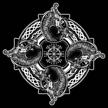 Celtic cross tattoo art and t-shirt design. Helm of Awe