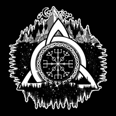 Celtic trinity knot, Helm of Awe, aegishjalmur, tattoo