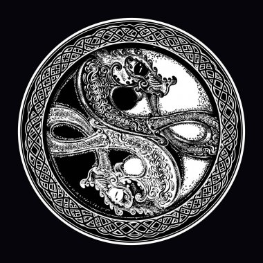 Two Dragons in the Celtic style, tattoo. Black and white dragon