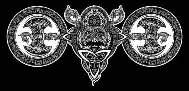 Viking tattoo, Celtic style. North warrior head t-shirt design