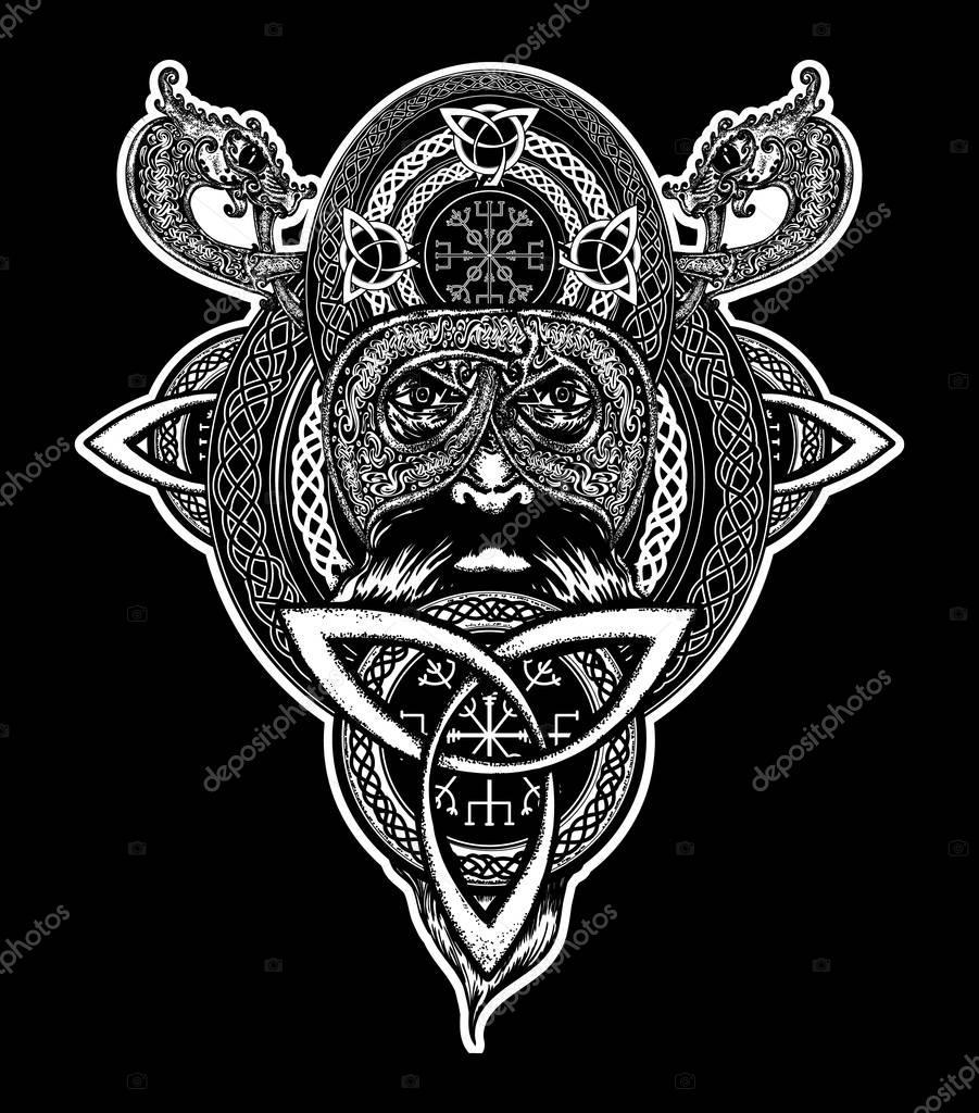 Viking Warrior Tattoo Northern Warrior T Shirt Design Stock