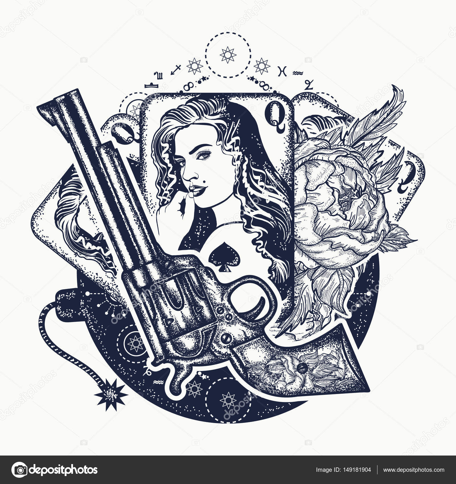 Revolver Playing Cards Beautiful Girl Bomb Tattoo Art