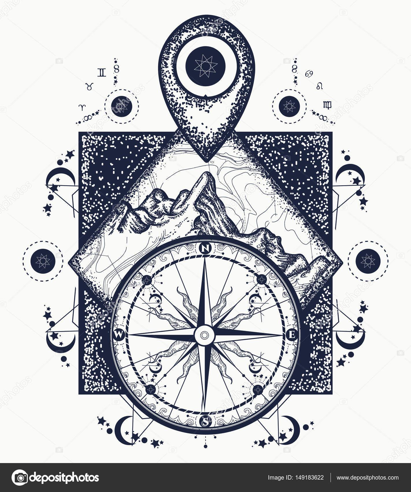 Góry Wskaźnik Mapy I Kompasu Tatuaż Przygody Podróży