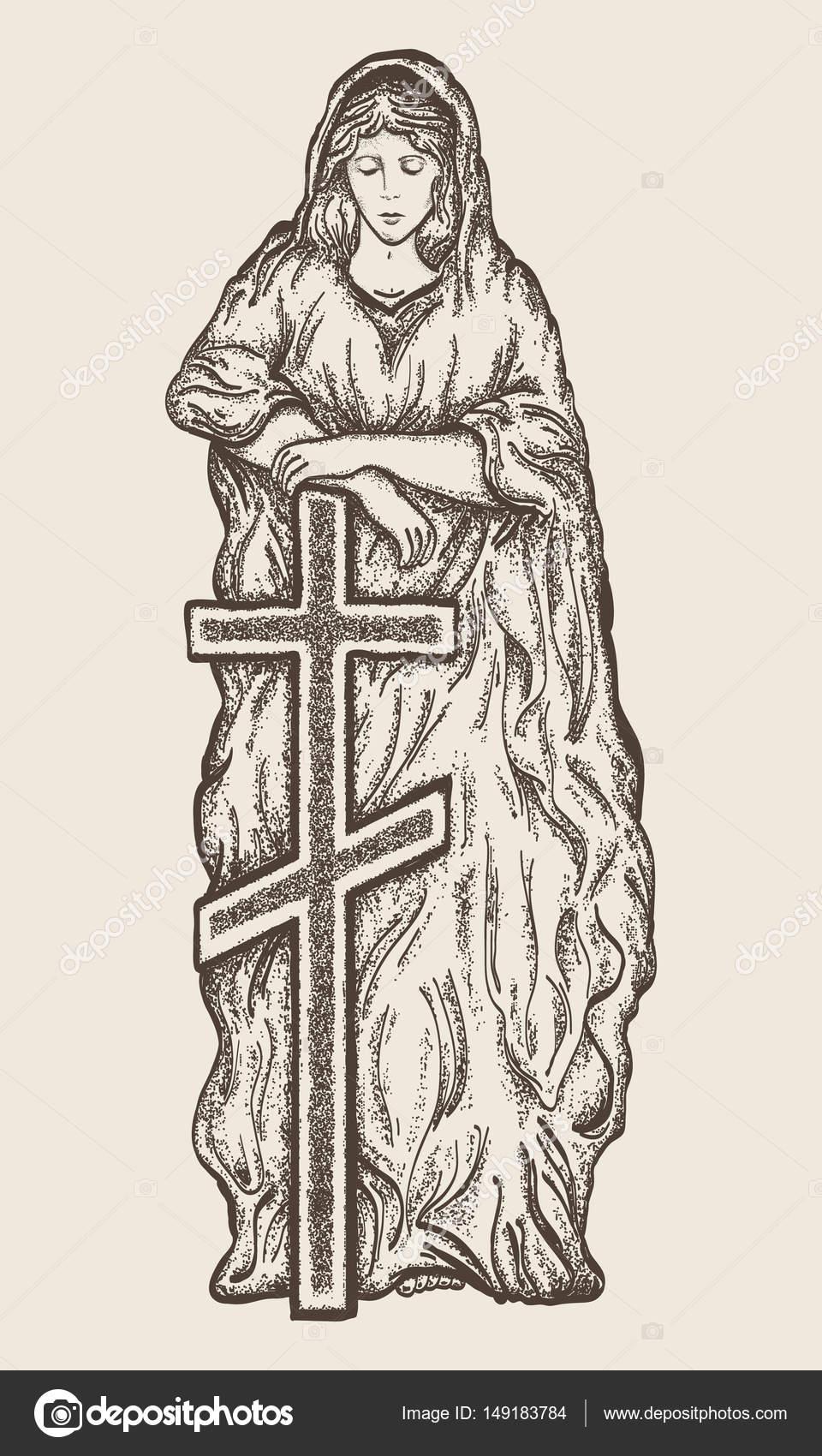 Bosquejo dibujado de la mano de Virgen María. Estatua de Virgen ...
