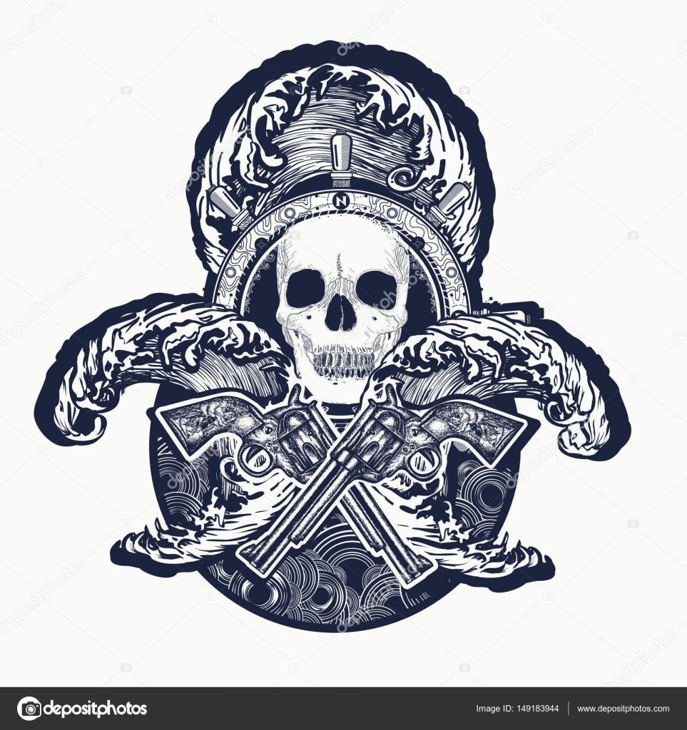 pirate crossed guns skull sea waves tattoo art symbol sea