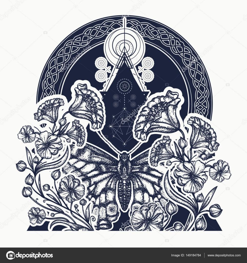 Fleurs Et Papillon En Tatouage De Style Art Nouveau Triangle Image