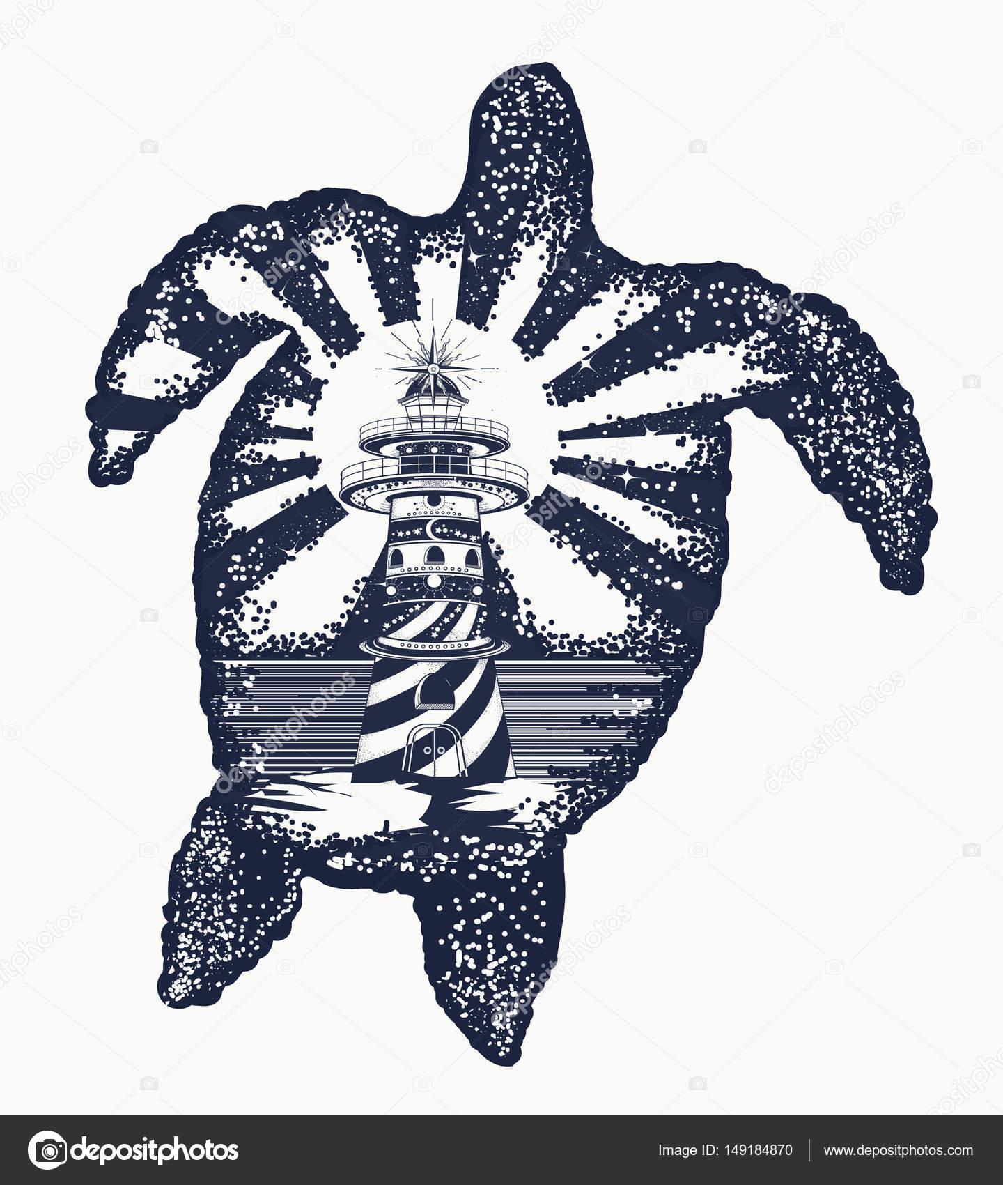 Arte del tatuaje de tortuga. Símbolo de viajes tropicales, aventura ...