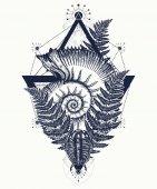 Nautilus shell prehistorické tetování umění. Starověké ammonite