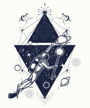Diver floats in space tattoo art. Astronaut in deep space