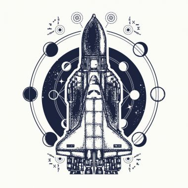 Space shuttle tattoo art. Symbol of space research