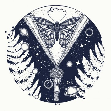 Universe and butterfly tattoo art. Symbol of esoterics, mysticis