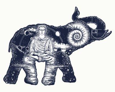 Elephant tattoo art. Symbol of spirituality, meditation, yoga