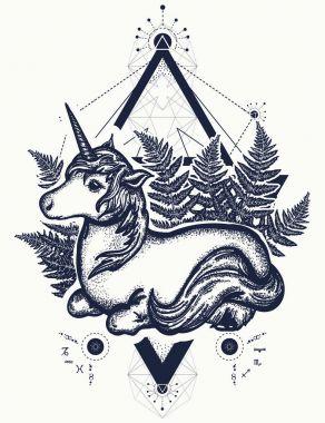 Unicorn tattoo art. Symbol of fantasy, dreams, souls