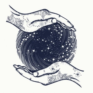 Magic sphere in hands t-shirt design. Magic ball tattoo art