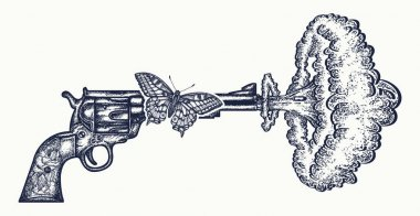 Gun shoots slow motion tattoo art. Symbol of love and hate