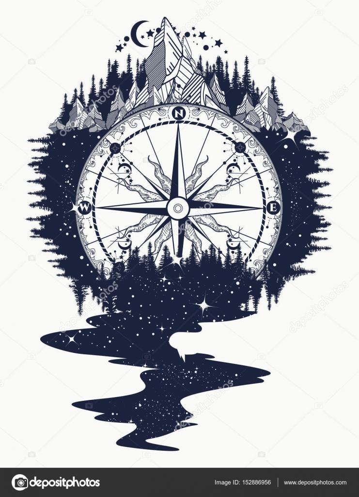 Dibujos Brujulas Antiguas Brújulas Montañas Río De Estrellas