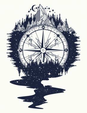 Compass, mountains, river of stars flows tattoo