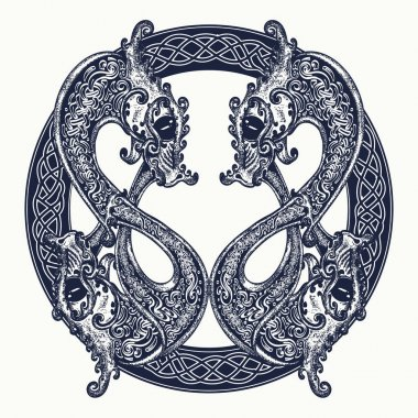 Two Dragons in celtic style, tattoo. Meditation, philosophy