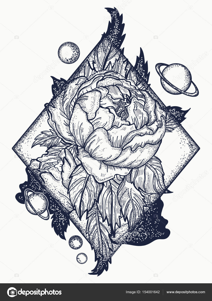 Diseño rosa para tattoo | Tatuaje rosa esotérica diseño de arte y ...