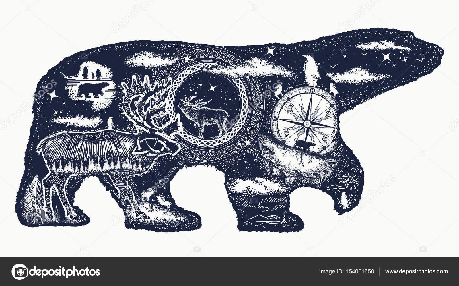 Ours Polaire Double Exposition Art Et T Shirt Conception De Tatouage