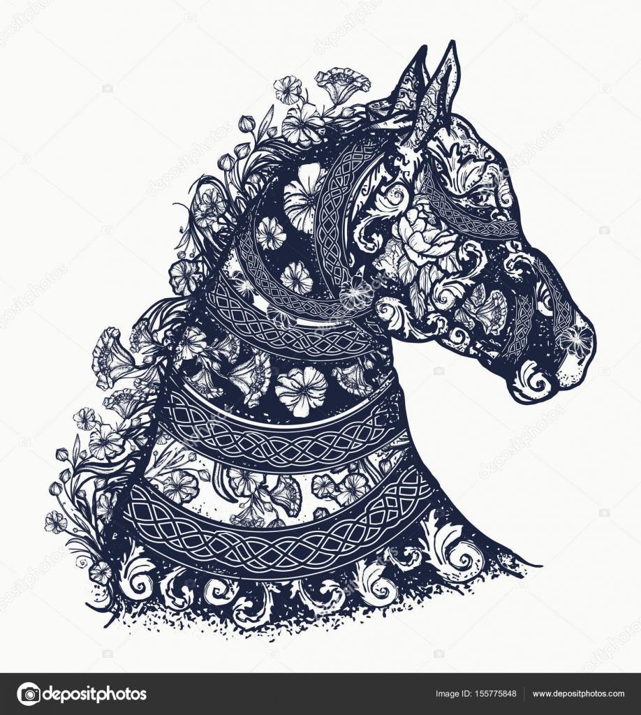 Pferd Tattoo Und T Shirt Design Symbol Der Freiheit Stärke
