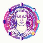 Buddha umění tetování. Bůh vesmíru Buddha v hlubokém vesmíru tričko design