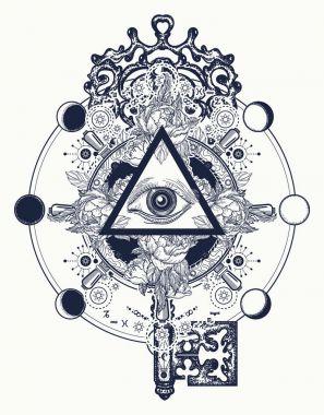 Masonic eye and key tattoo symbols. Freemason and spiritual