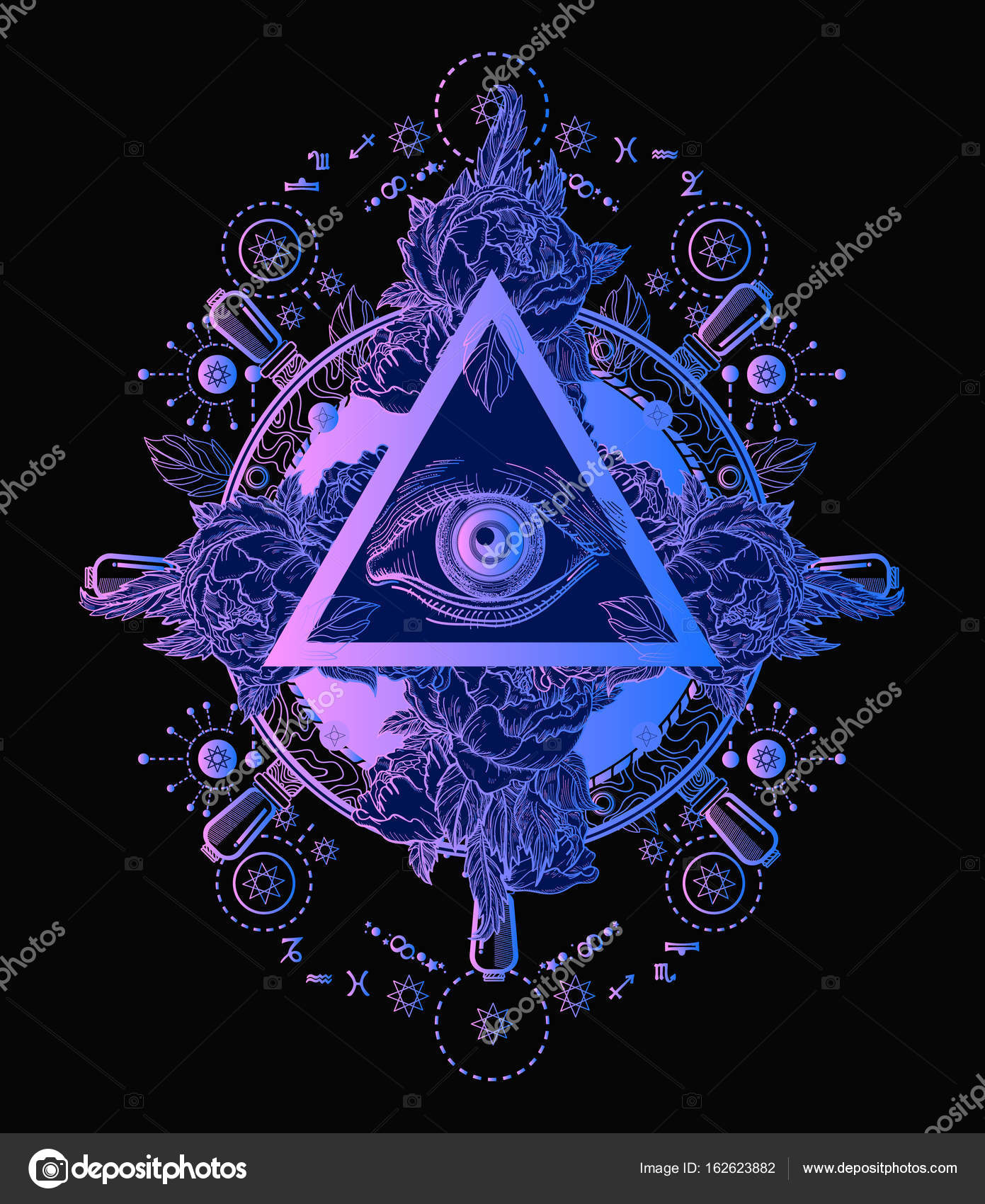 All seeing eye pyramid poster and t-shirt design