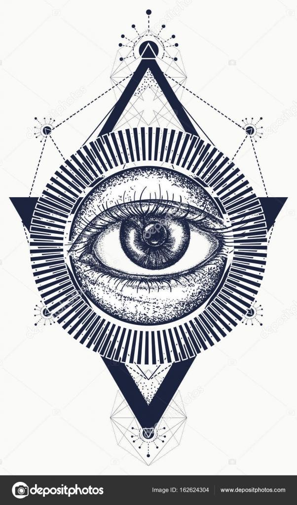 All Seeing Eye Tattoo Art Vector Freemason And Spiritual Symbol Stock