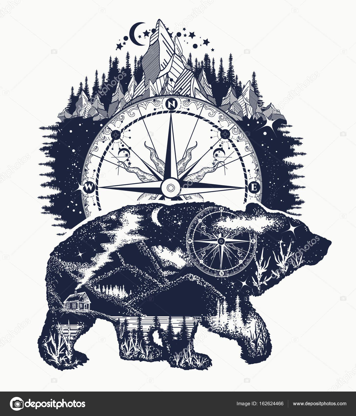 Tatuajes Osos Tribales Oso Y Montañas Del Tatuaje Arte Símbolo De