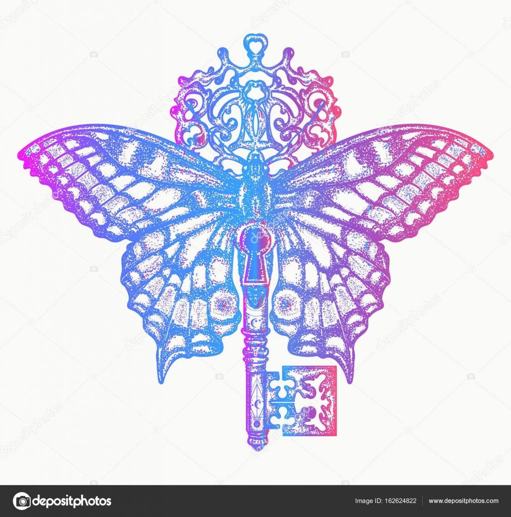 Sztuka Tatuaż Kolor Motyl I Klucz Mistyczny Symbol Wolności