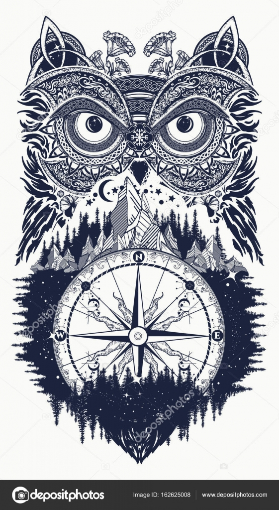 Owl and compass tattoo art owl in ethnic celtic style stock owl in ethnic celtic style t shirt design owl tattoo symbol of wisdom meditation thinking tourism adventure vector by intueri buycottarizona