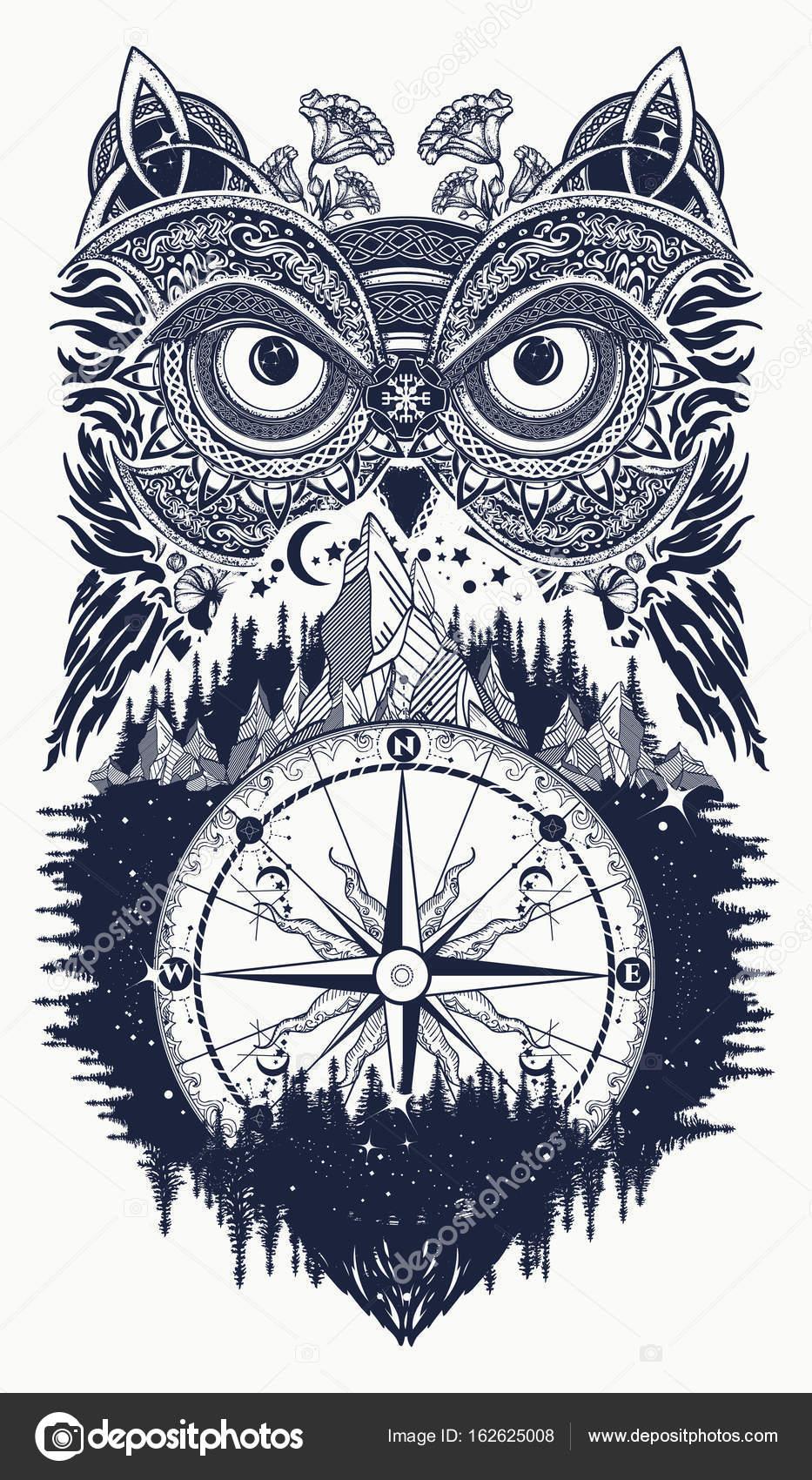 Uil En Kompas Tattoo Kunst Uil In Etnische Keltische Stijl