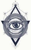 Fotografie All seeing eye tattoo art vector. Freemason and spiritual symbol