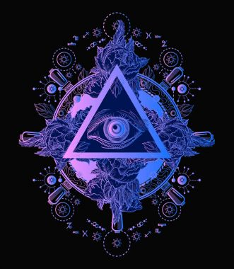 All seeing eye pyramid poster and t-shirt design. Freemason