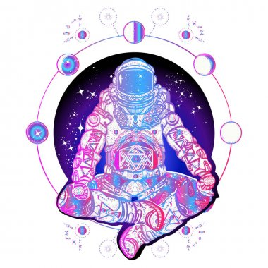 Astronaut in the lotus position color tattoo art. Spaceman