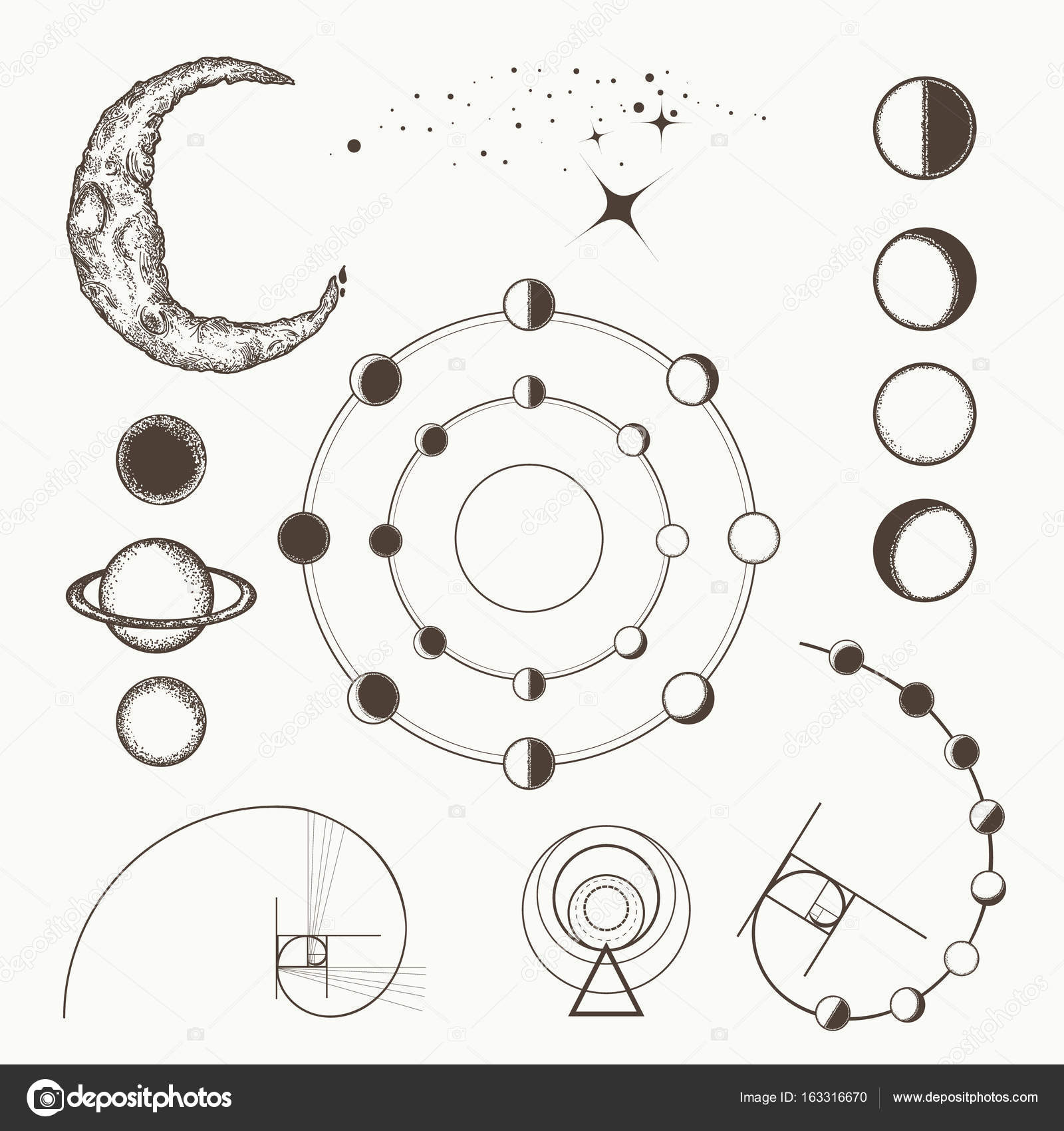 Astrology And Alchemy Symbols And Signs Of Astrology Stock Vector