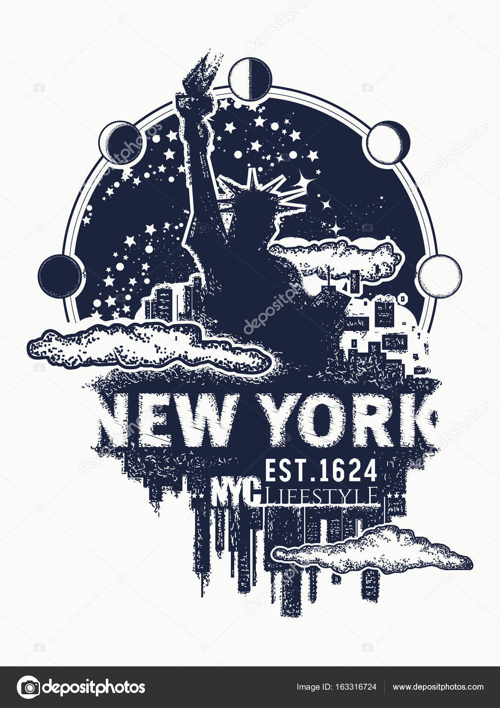 Tatouage De New York Et T Shirt Design New York City Skyline