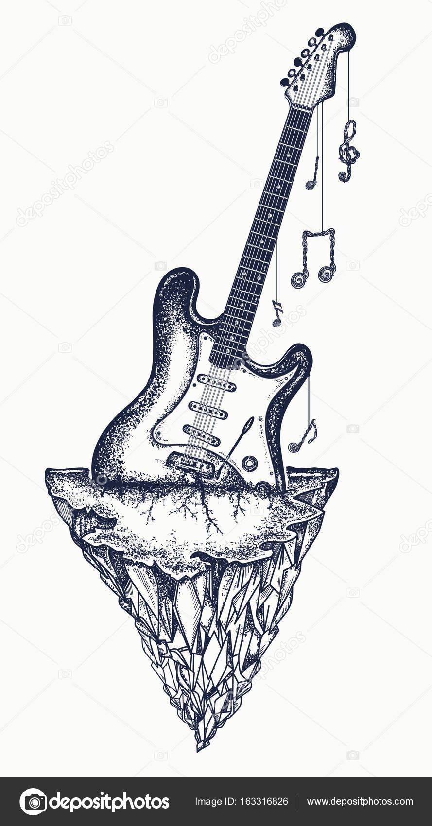 Diseño del tatuaje y camiseta guitarra y montañas. Guitarra Electro ...