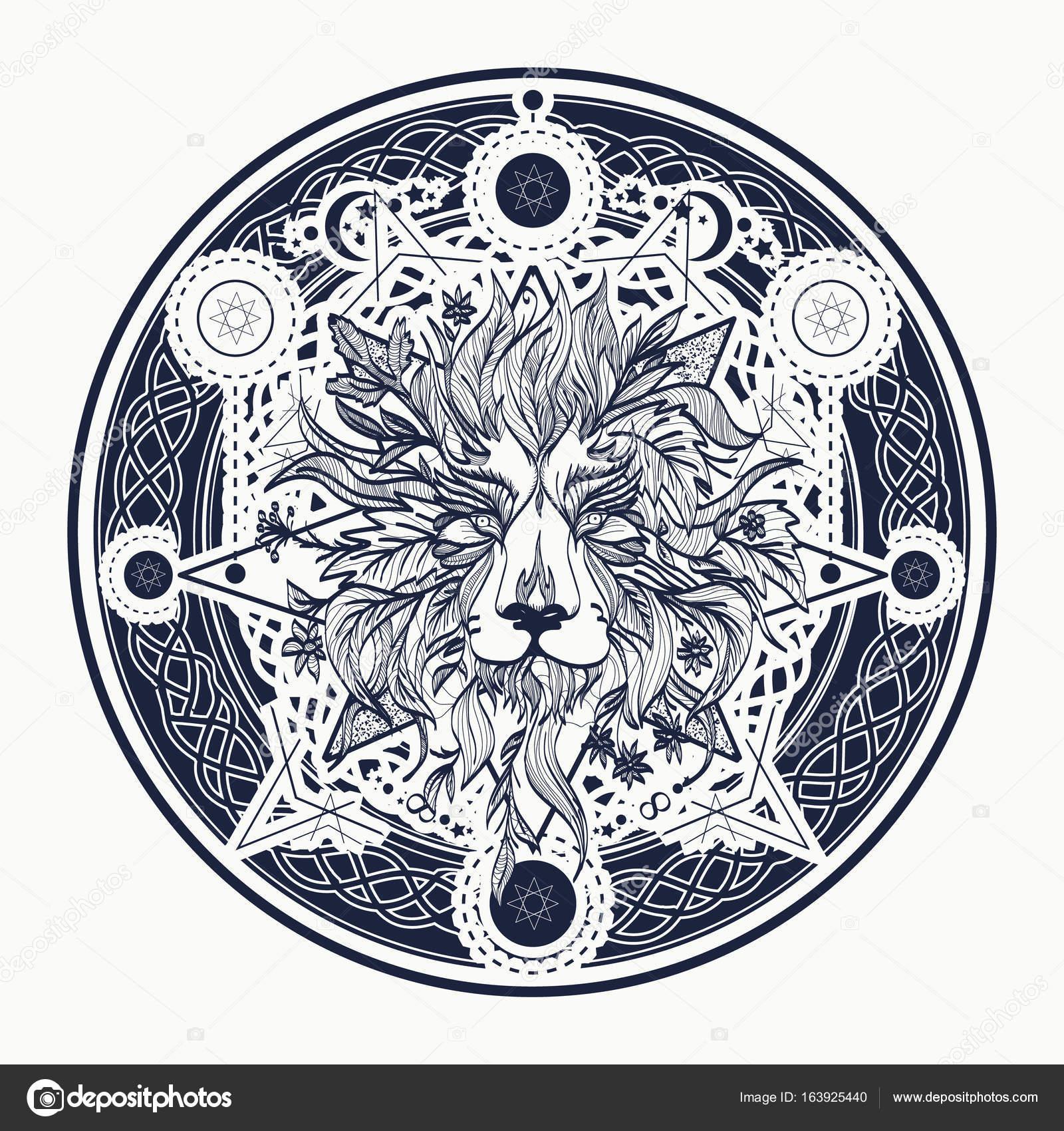 Design De Tatouage Et T Shirt De Lion Medievale Tatouage Ornemental