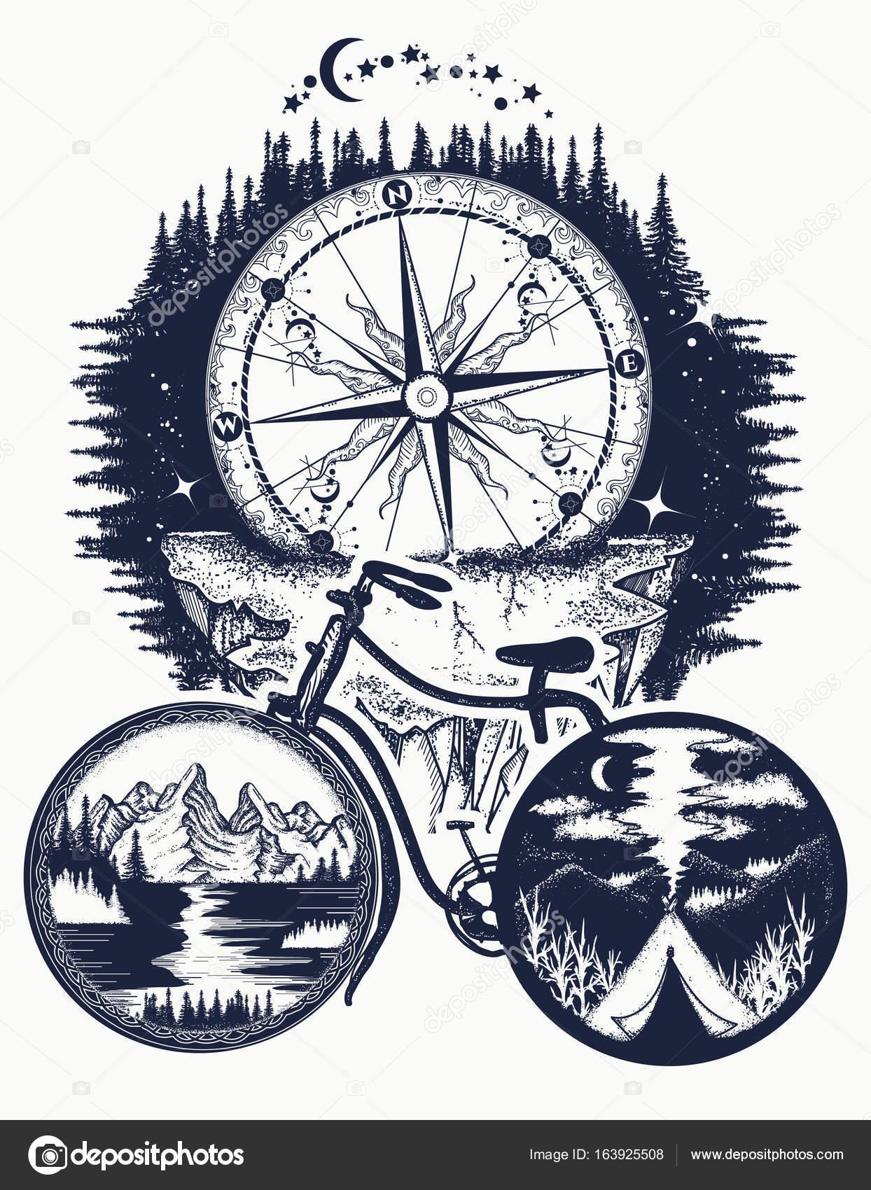 Bicicleta y montaña del tatuaje arte. Símbolo de viaje, turismo ...