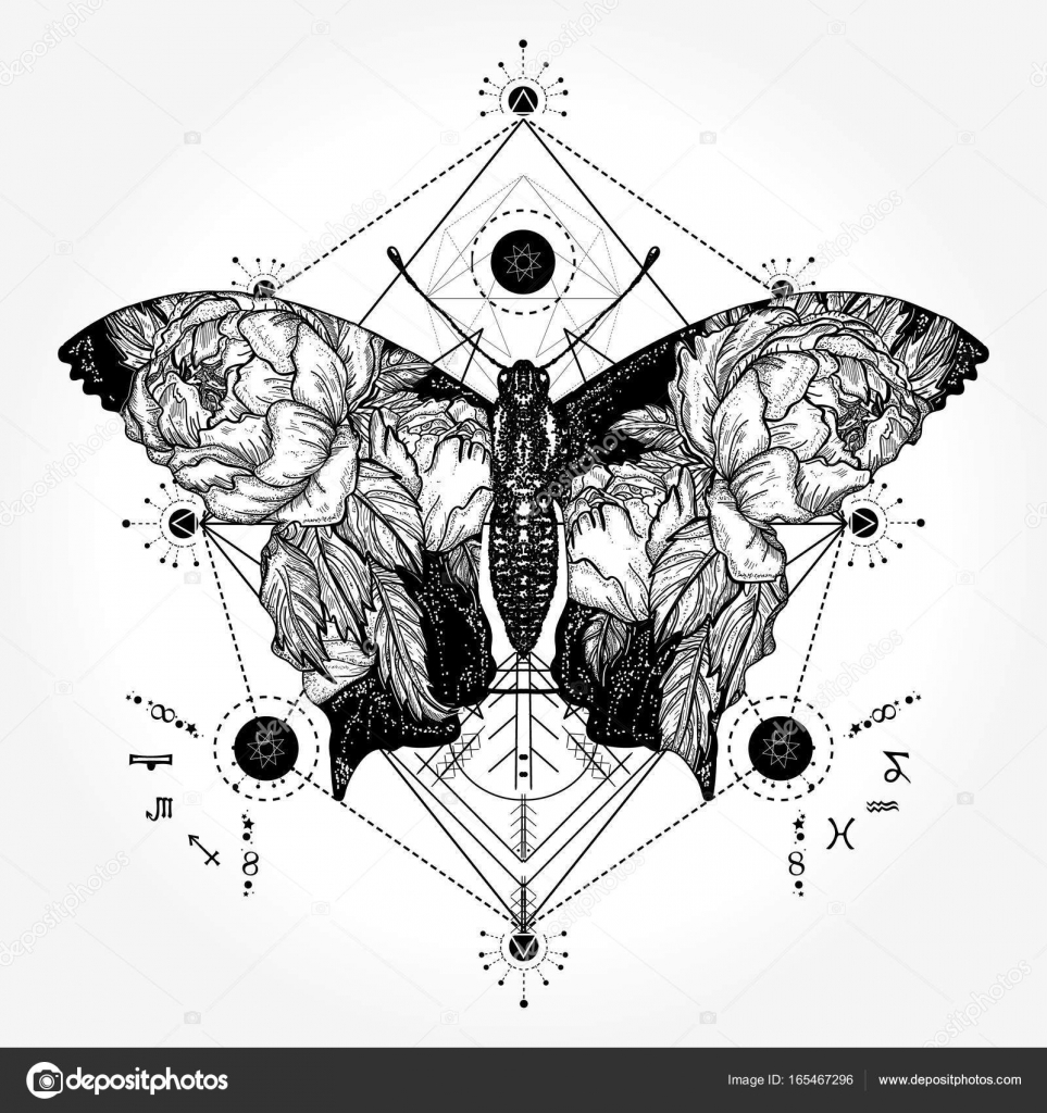 c1db7d0a3b6bf Butterfly tattoo in geometrical style. Tattoo for woman, style double  exposure. Beautiful butterfly boho t-shirt design, wings and roses, symbol  of freedom, ...