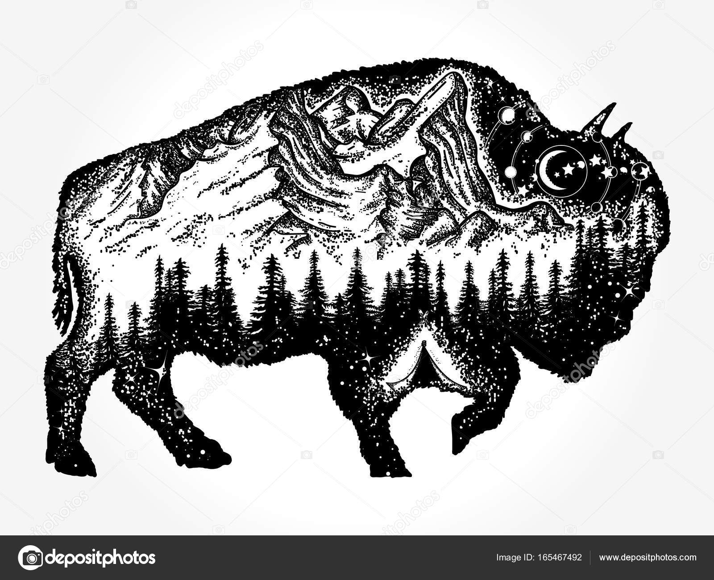 Bison Tatuaż Sztuki Góry Las Nocnego Nieba Grafika Wektorowa