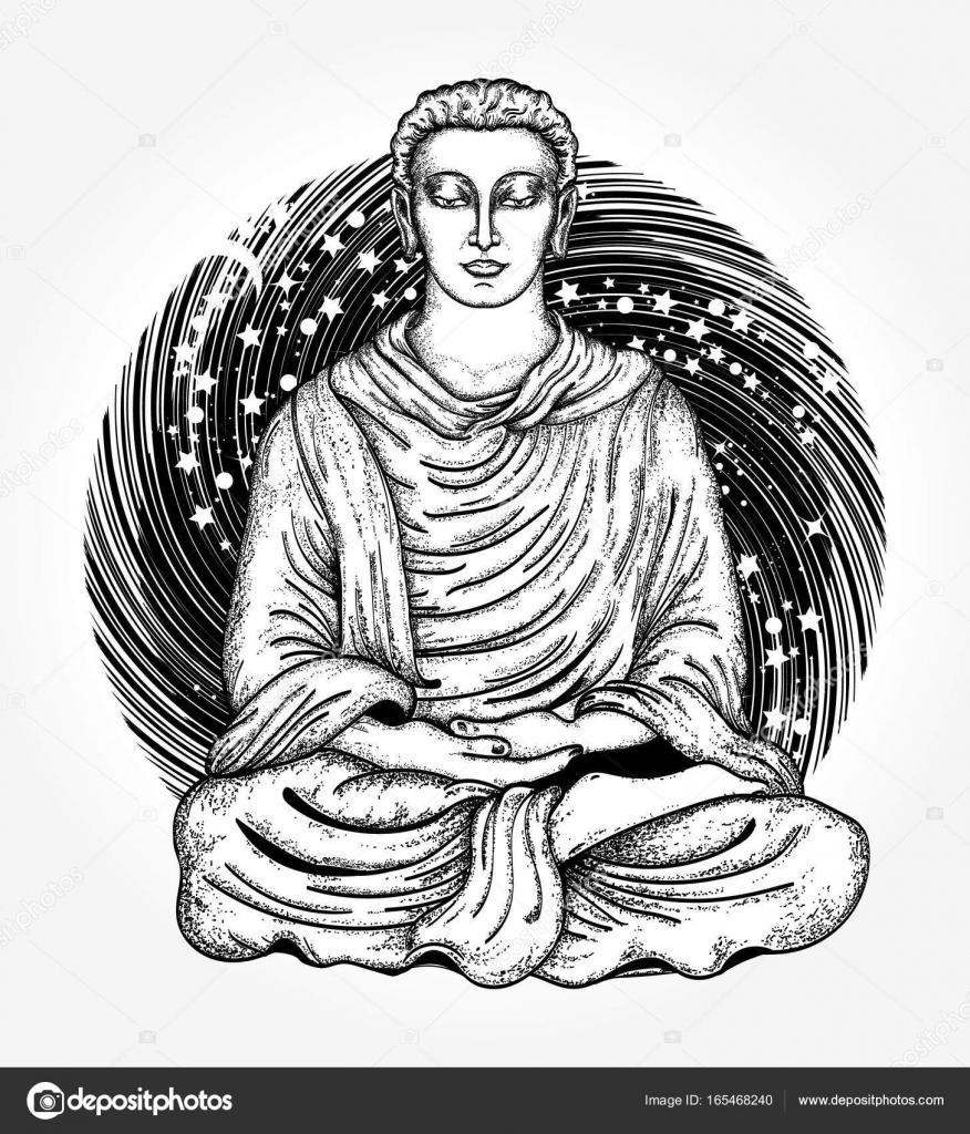 Buddha tattoo and t shirt design space buddha tattoo art stock space buddha tattoo art religious symbol of harmony spirituality yoga meditation soul god buddha in lotus position on background of universe t shirt biocorpaavc