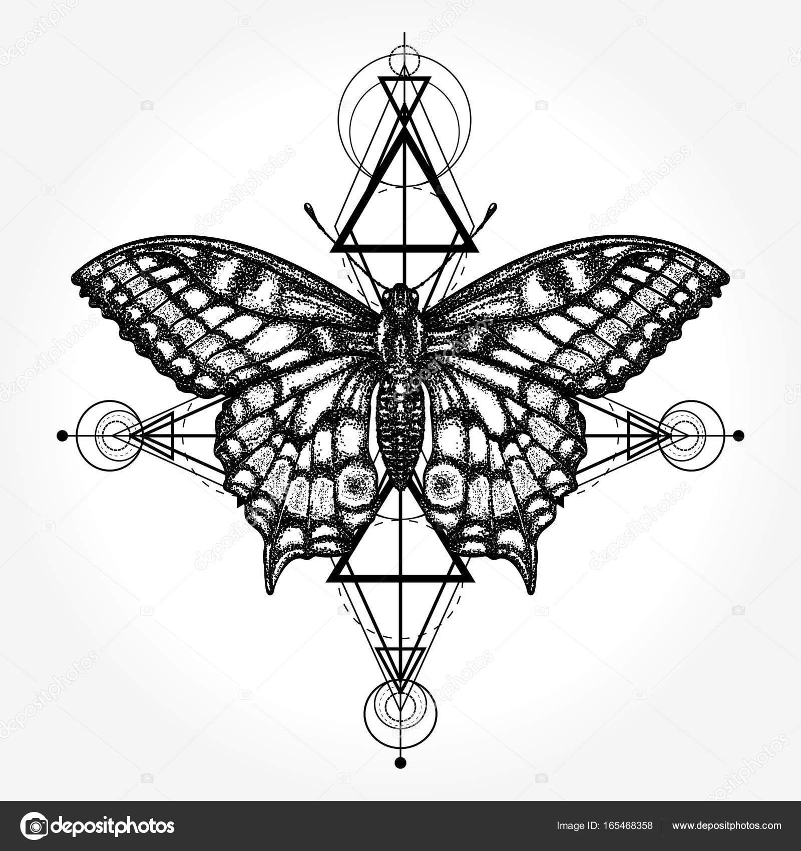 Tatuaż Motyl Geometryczny Styl Mistyczny Symbol Wolności