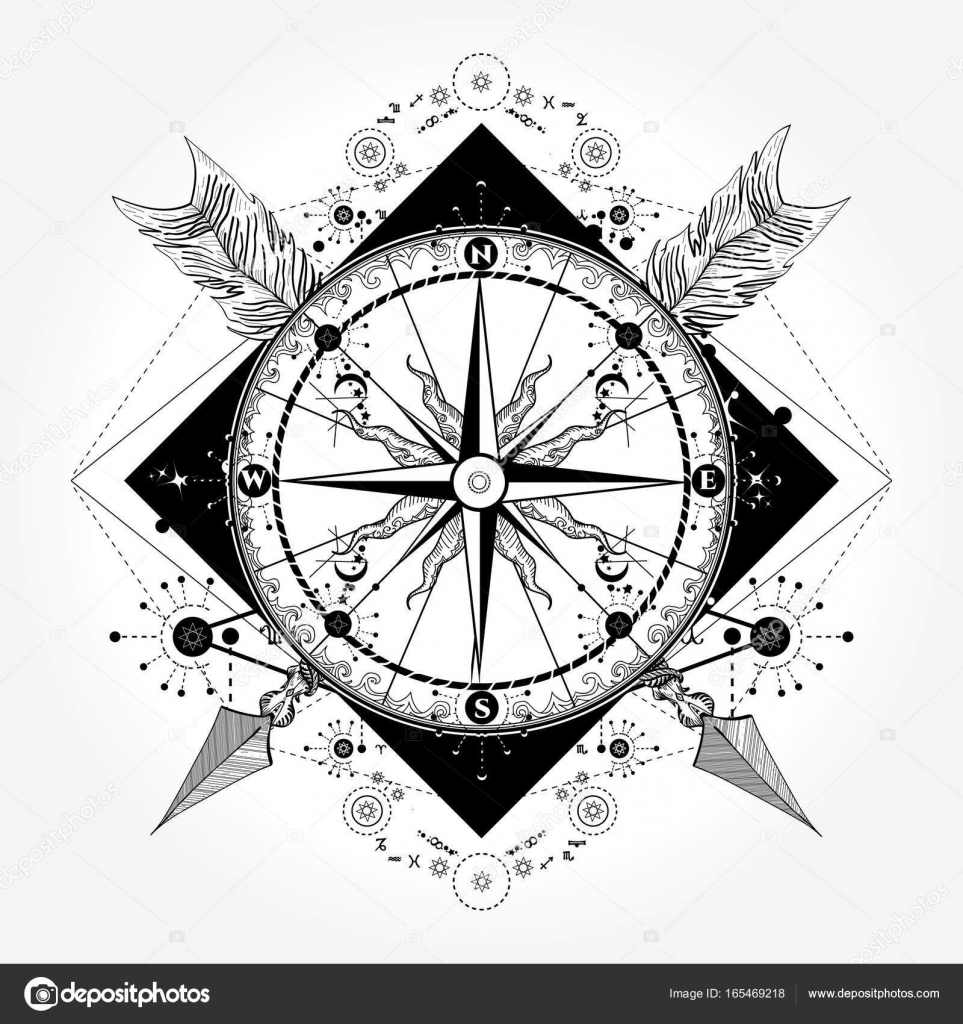 Vector Arrow Compass Tattoo Designs Compass Tattoo And T
